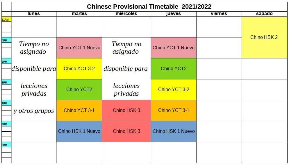 horario Chino World Idiomas Aranjuez